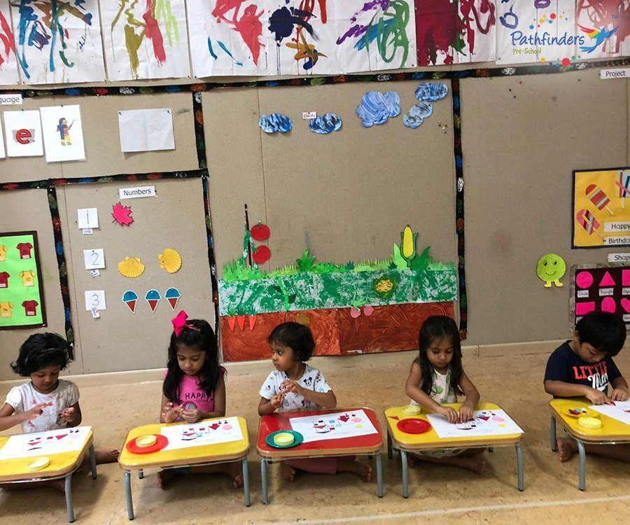 Children are busy in the drawing