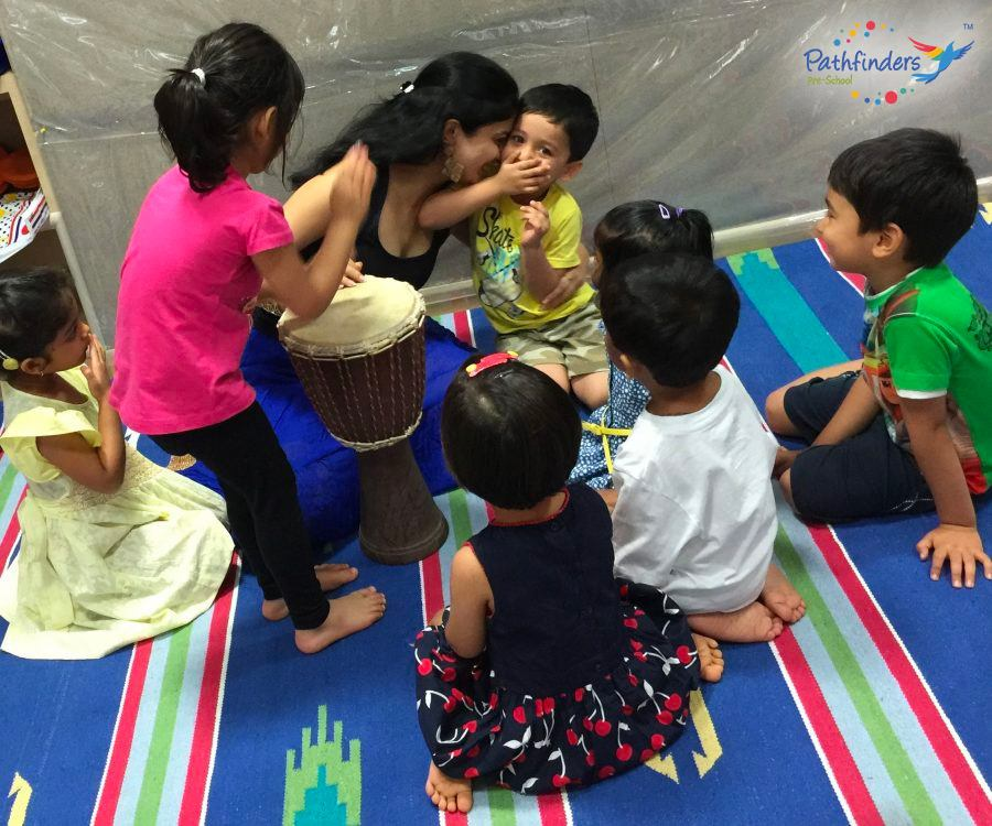 Children playing with the music
