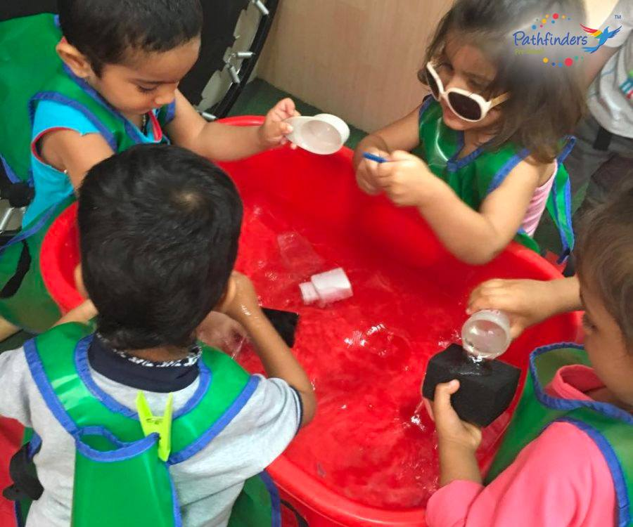 Children are playing with the water