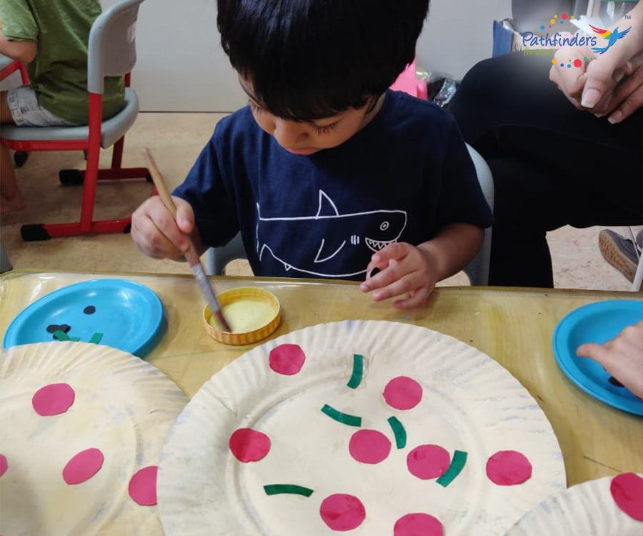 a child is painting