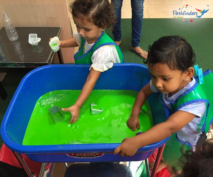 children are enjoying with the colors