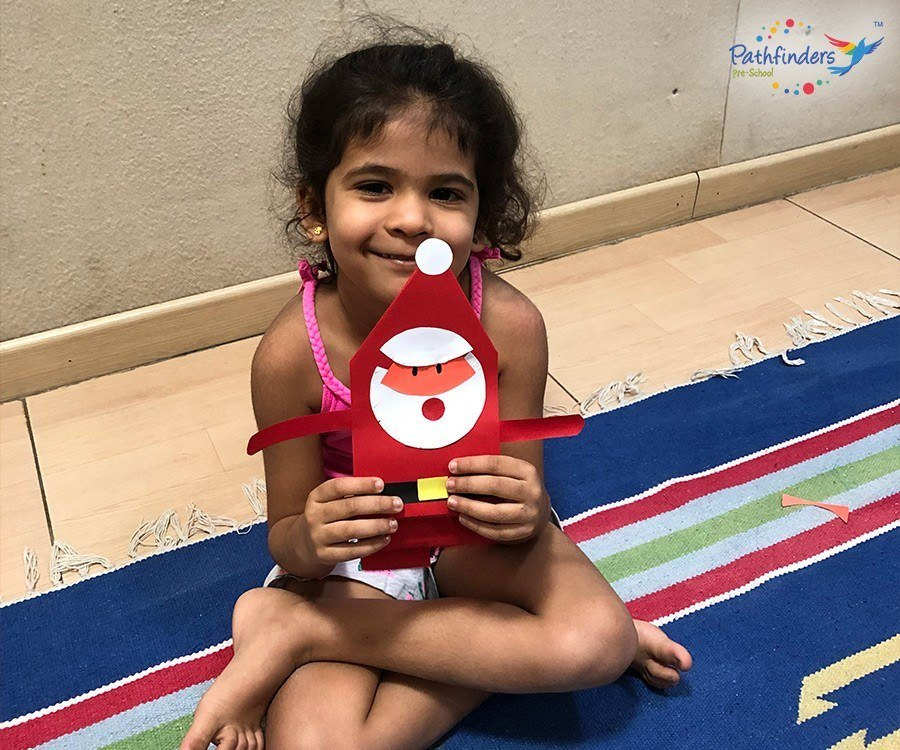 A child has created a Santa with craft